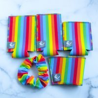 rainbow drinkwear koozies with scrunchie