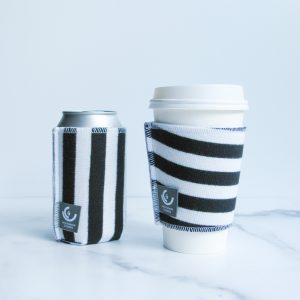 upcycled drinkwear b&w stripe
